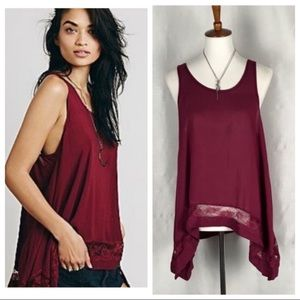 Free People Outlined burgundy high low cami tank